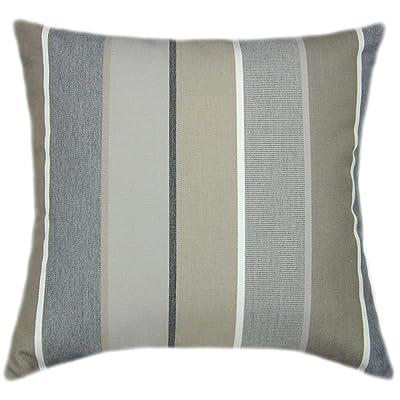 TPO Design Sunbrella Milano Char Indoor/Outdoor Striped Patio Pillow 20x20: Home & Kitchen