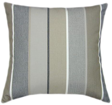 Sunbrella Milano Char Indoor/Outdoor Striped Patio Pillow 16x16