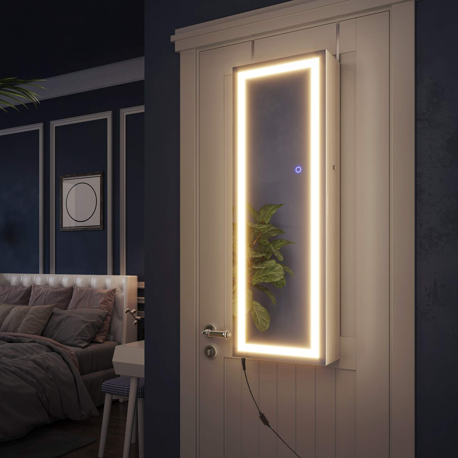 SONGMICS Jewelry Cabinet with LED Light Strip, Wall/Door ...