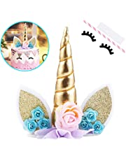 Unicorn Cake Topper With Eyelashes Party Decoration Supplies For Birthday Wedding Baby