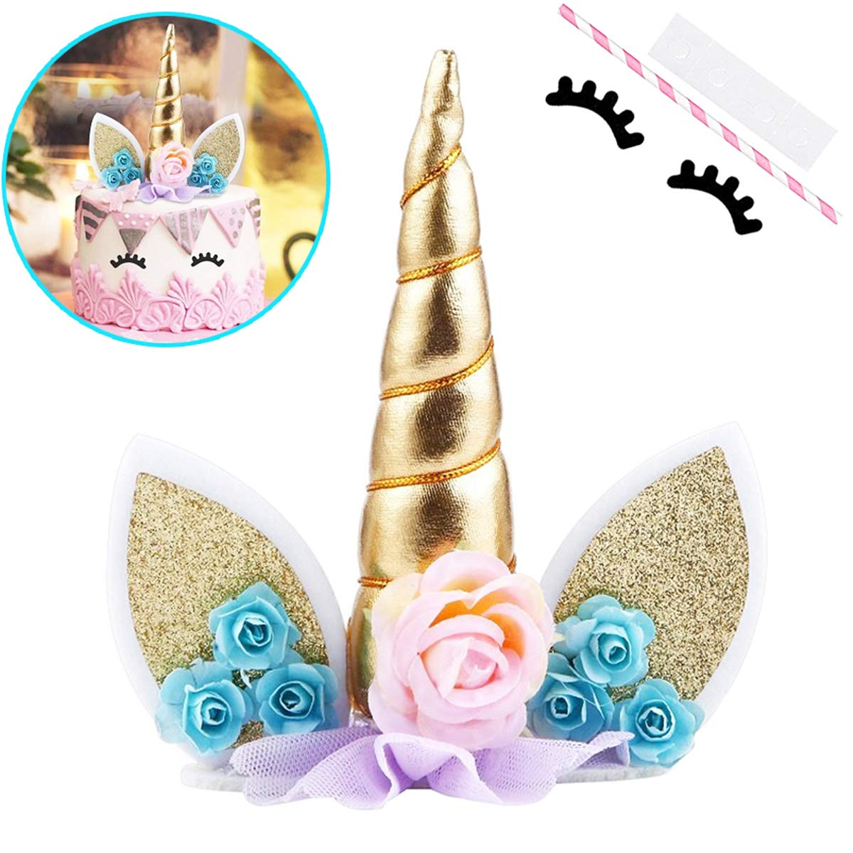 B07D5X6P58 Unicorn Cake Topper with Eyelashes Party Cake Decoration Supplies for Birthday Party, Wedding, Baby Shower, 5.8 inch 71S0dwnWRaL