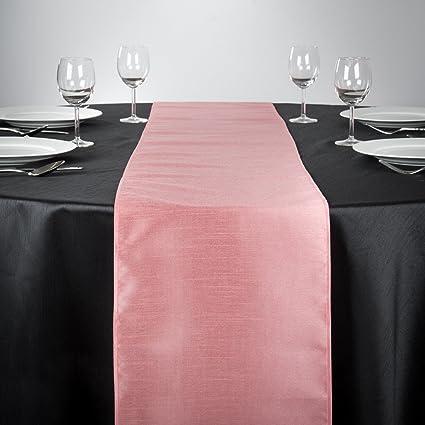 LinenTablecloth Shantung Silk Table Runner, 14 X 108, Pink