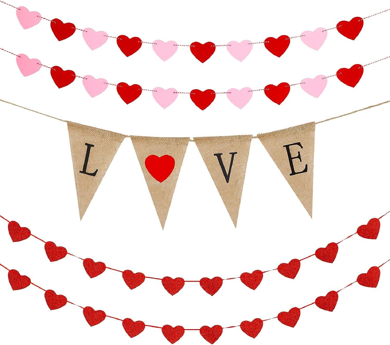 Heart Theme decor Classroom decor Heart banner Valentine/'s Day banner Love Theme banner Kiss Theme banner Unique banner Red and Pink banner