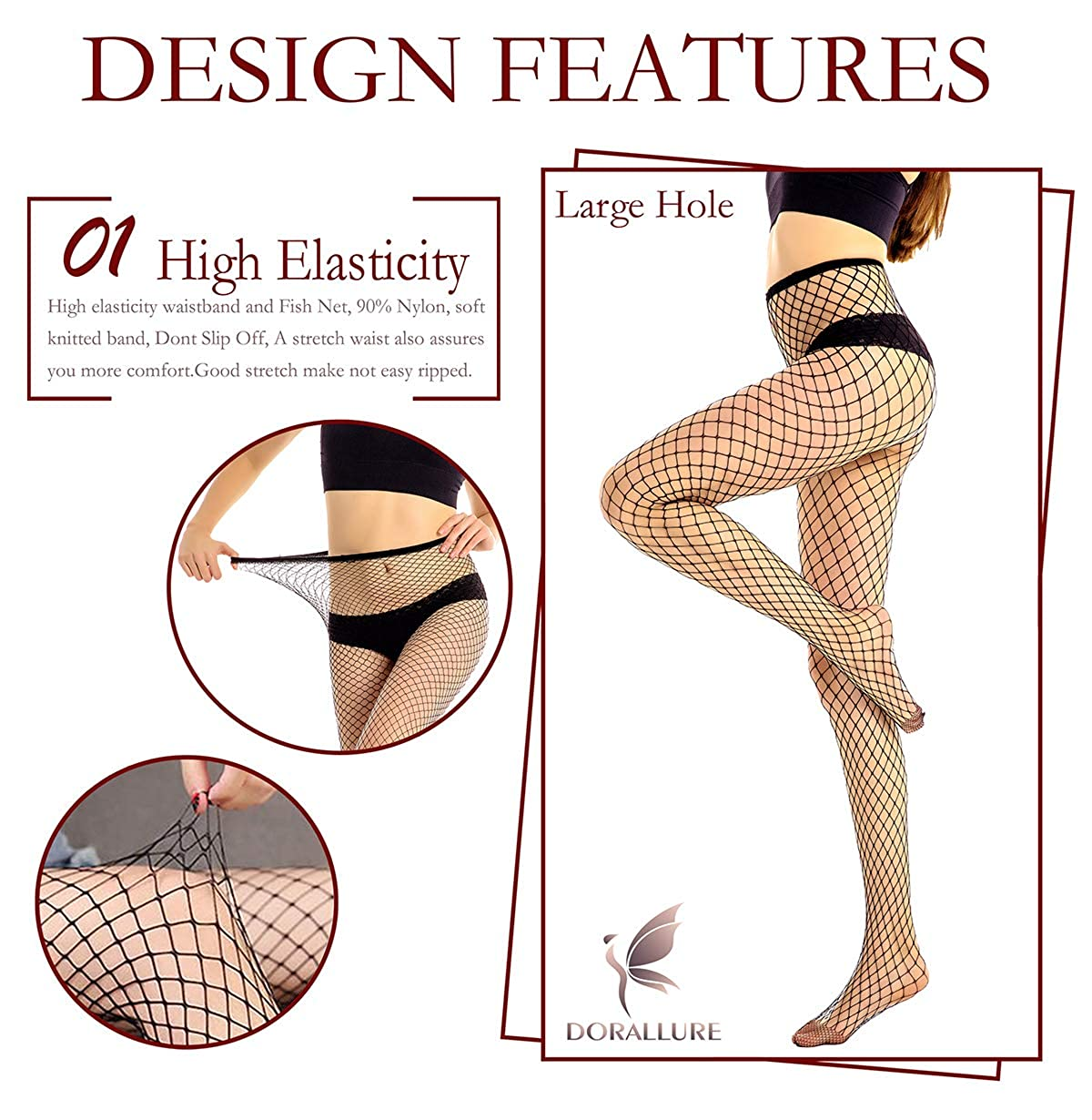 d7a4ced7e21b61 Clothing Womens Fishnet Tights 2 Pair Waist High Stockings Basic/Rhinestone  Fishnets Socks Seamless Pantyhose DORALLURE 2SNW002-Black-R Small Hole Women