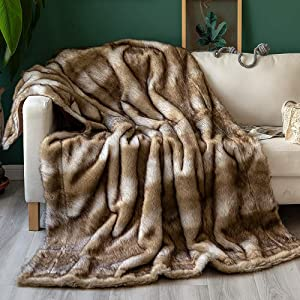 Sofila Luxury Faux Fur Mink Throw Blanket Super Soft for Sofa, Couch, Bed Cozy Warm Fluffy Fleece Reversible Fuzzy Throw Blanket (60 x 80 Inches) Platinum Fox