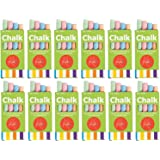 12 Boxes of Colored Chalk, 3.5 Inches 4 Sticks Per Box Assorted Colors, Non-Toxic Conforms to ASTM D-4236 - Arts & Crafts Activity - for Kids, Party Favors, Fun, Gift, Prize, Toy - by Kidsco