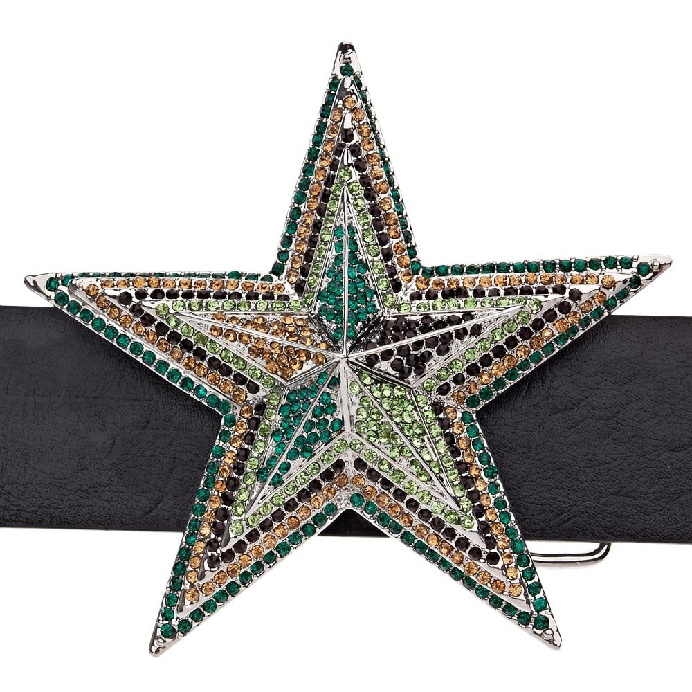 Iced Out Bling Belt 3D STAR Wood Camo