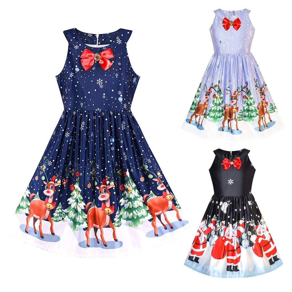 Christmas Baby Dress Toddler Girls Dress Princess Tutu Pettiskirt Party Romper Infant Newborn Birthday Outfits Festival Fancy Costume, Sleeveless Bow Santa Deer Kids