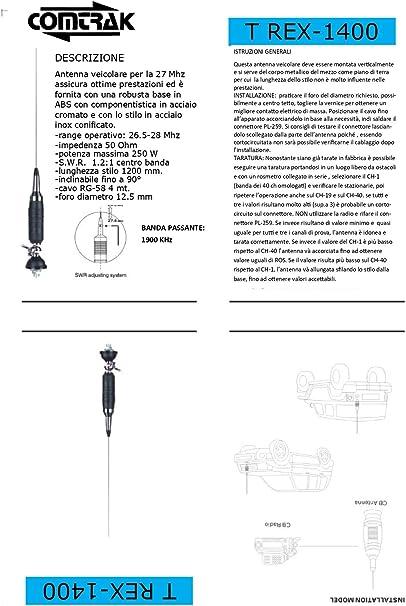 Antena vehículos CB T REX-1400 High Performance 400016