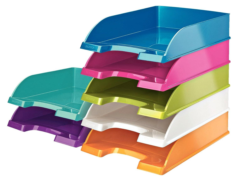 Esselte 407738 Leitz Wow Corbeille Courrier Polypropyl/ène Aspect Lisse Brillant A4 Parois Hautes 600 F Ergonomique 255 x 70 x 357 mm