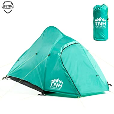 TNH Outdoors 2 Person Camping & Backpacking Tent with Carry Bag and Stakes - Portable Lightweight Easy Setup Hiking Tent