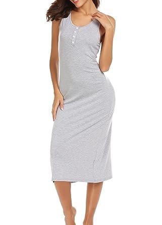 eaf6b066eb744 Vansop Women Casual Spaghetti Strap Sleeveless Button Nighties Sleepwear  Dress(S-XXL) at Amazon Women's Clothing store: