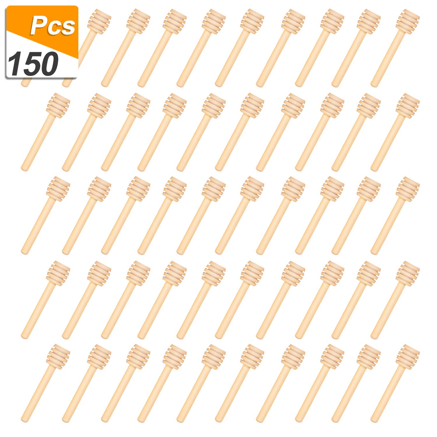 150 Pack 3 Inch Mini Wood Honey Dipper Sticks, Individually Wrapped, Server for Honey Jar Dispense Drizzle Honey by Thyores