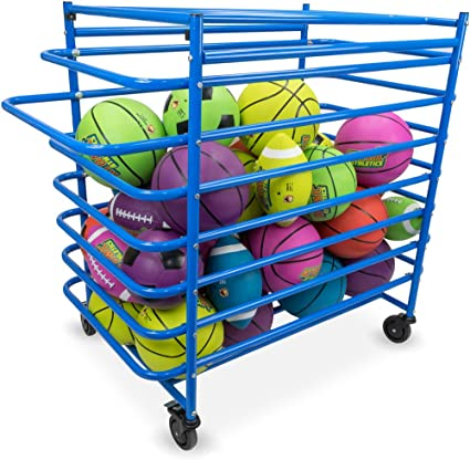 Deluxe Heavy Duty Rolling Steel Sports Ball Cage Large 44 x 38 x 24 Inch Size!