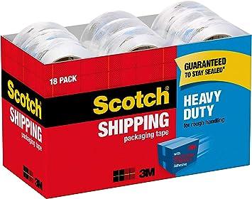 SCOTCH 3850-8 PACKING TAPE REFILL HEAVY DUTY 1.88 INCH x 54.6 YARD CLEAR 8 ROLLS
