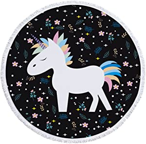 Unicorn Thick Round Beach Towel Blanket | Throw Indian Mandala Tapestry Tassel fringe| Microfiber | Bohemian Circle Style | Oversized Extra Large 60 Inch |Yoga Mat |Table cover (Unicorn)