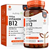 Vitamin B12 1000 mcg 365 Tablets (12 Month Supply) | 365 High Strength Methylcobalamin Time-Release Tablets | Made in The UK by Nutravita