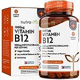 Vitamine B12 1000 µg | Cure de 12 mois | 365 Comprimés Végans – Sans OGM | Formule Avancée pour usage quotidien | Fabriqué au Royaume-Uni par Nutravita