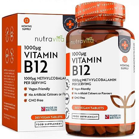 Vitamina B12 Vegana 1000mcg Alta Potencia - 365 Comprimidos Vegana (Suministro de 12 Meses) - Contribuye a la Reducción del Cansancio y la Fatiga - ...