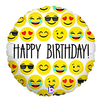 Folienballon Smiley Happy Birthday Emoji Gelb 45 Cm Ugefüllt