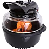 Ovation Black 1400W Halogen Oven Air Fryer with High & Low Rack, Rotisserie Function & 6.8L Capacity