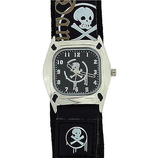 Reflex KID-0037 Reloj De Cuarzo De Moda Disco Negro Con Craneo y Huesos: Amazon.es: Relojes
