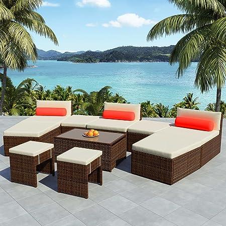 UnfadeMemory Muebles de Jardin Exterior con Cojines,3 Secciones de Asiento+2 Mesas Centrales+1 Mesa Abatible+4 Taburetes,Marco de Acero,Ratán Sintético (Marrón): Amazon.es: Hogar