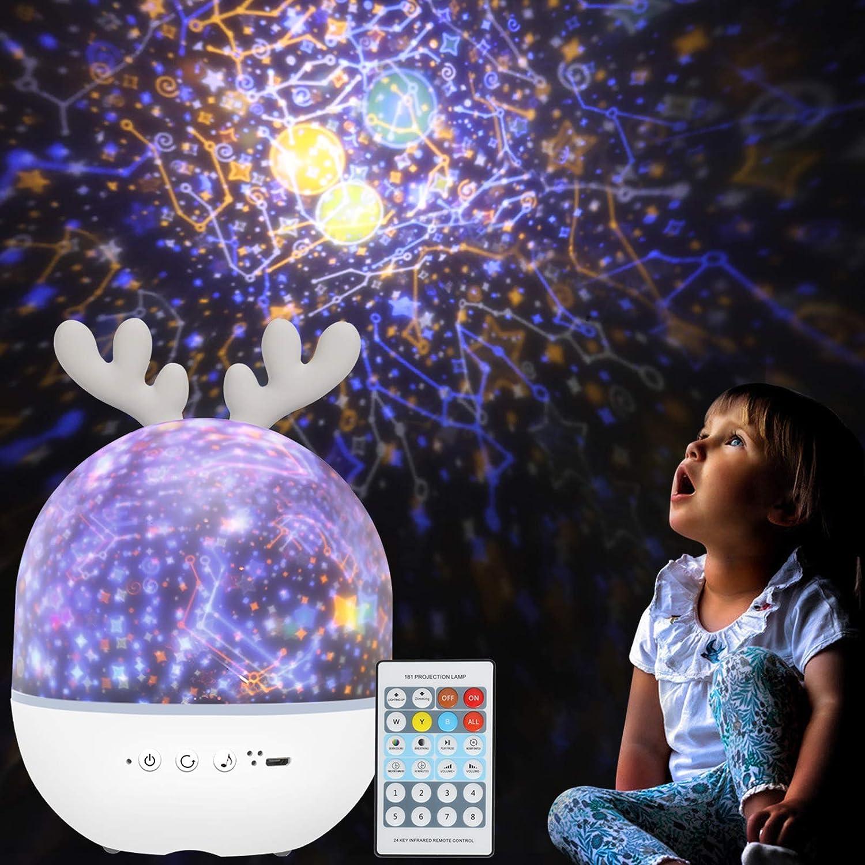 Luz de noche proyector 360º control remoto USB, con música
