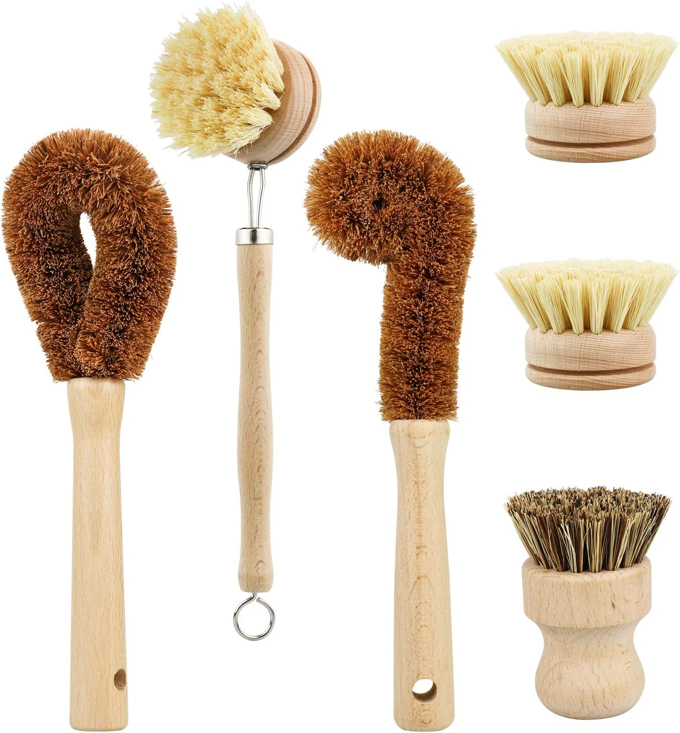 Plant Based Cleaning Brush Set, 6 Piece for Vegetable, and Kitchen Dish Cleaning, Sisal & Coconut Fibers with Bamboo Handles, Zero Waste & Biodegradable Kitchen Brushes