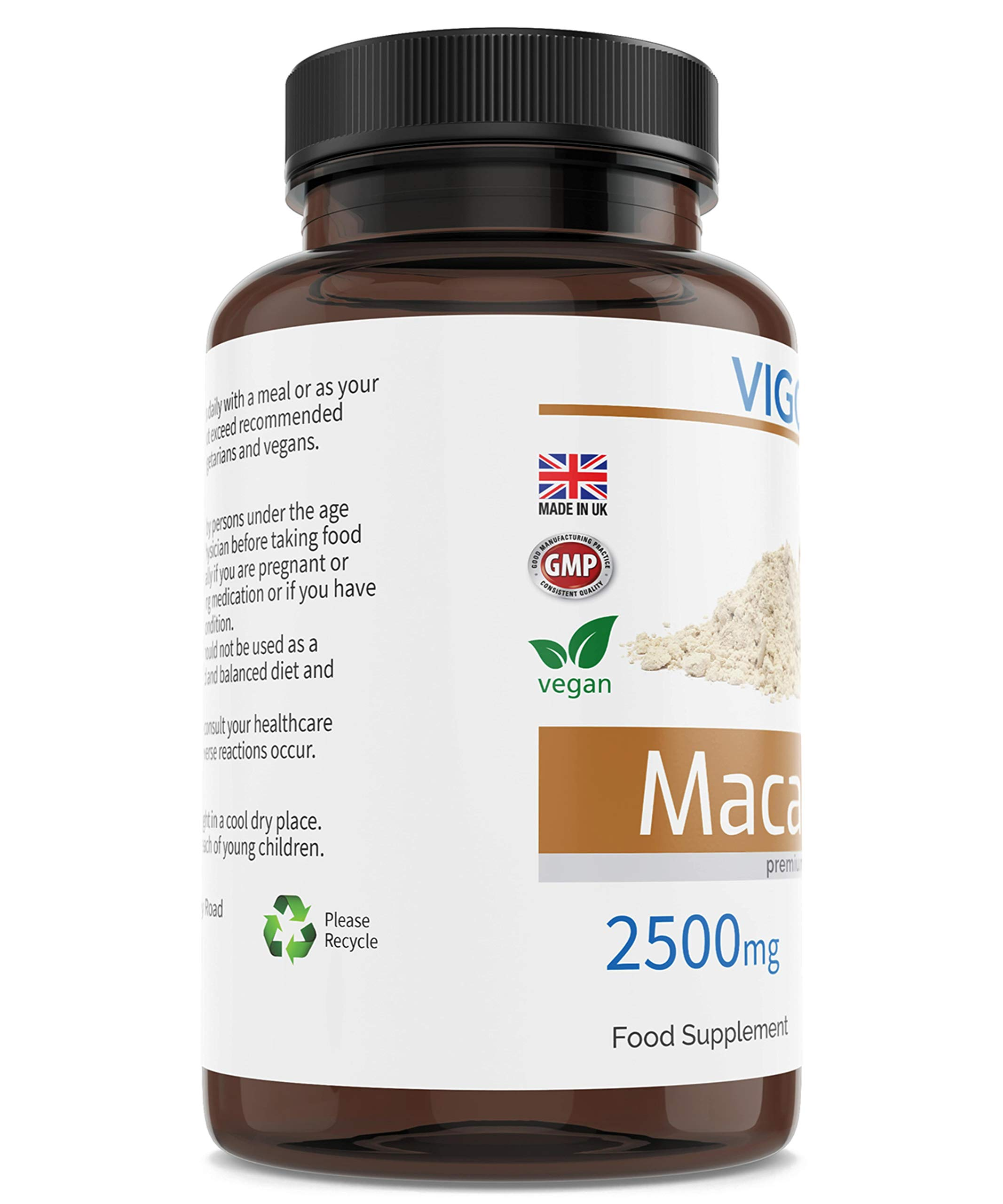 Maca for Energy Performance and Vitality - Peruvian Vegetable Superfood for Men and Women's Stamina - 2500 mg 90 Capsules - Natural 10:1 Root Powder Extract - Vegan - GMO-Free - UK Made