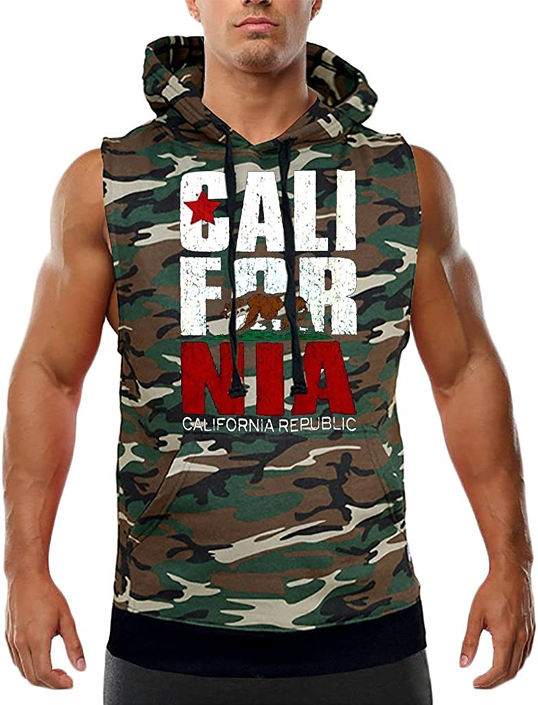 Mens Red California Republic Camo Sleeveless Vest Hoodie Camo