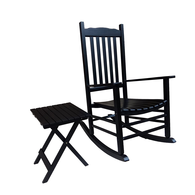 Rocking Rocker - S001BK Black Porch Rocker with Side Table - Set of 2 pcs Good Price!!!