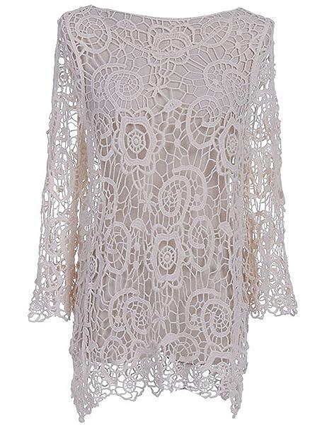 Anna K Sm Fit Beige Floral And Swirl Pattern Crochet Loose Knit Net