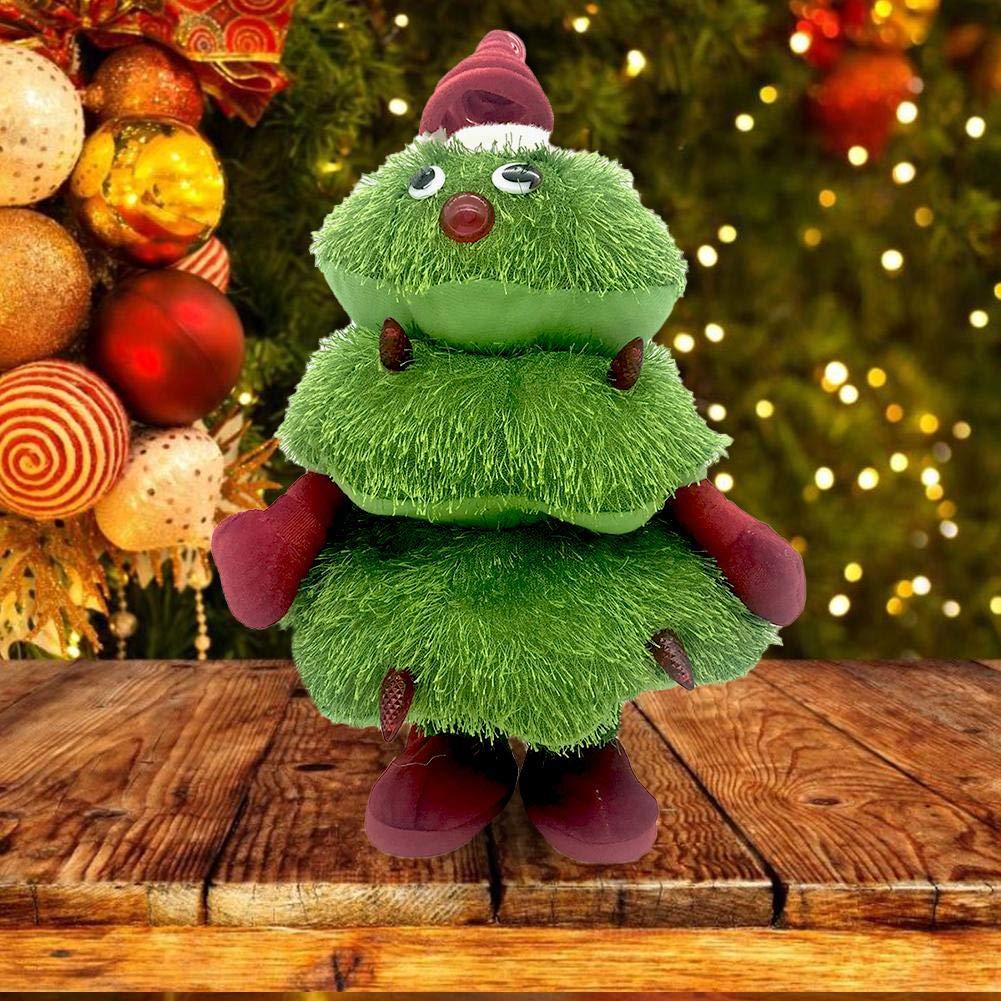 Sunronal /Árbol de Navidad Juguete de Peluche el/éctrico Cantando Bailando Mu/ñeca Brillante para Navidad Figura Musical en Movimiento Decoraci/ón del /árbol de Navidad