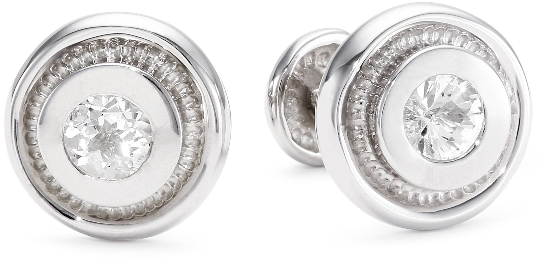 ROTENIER ''Classic'' Sterling Silver Bearing with White Topaz Cufflinks