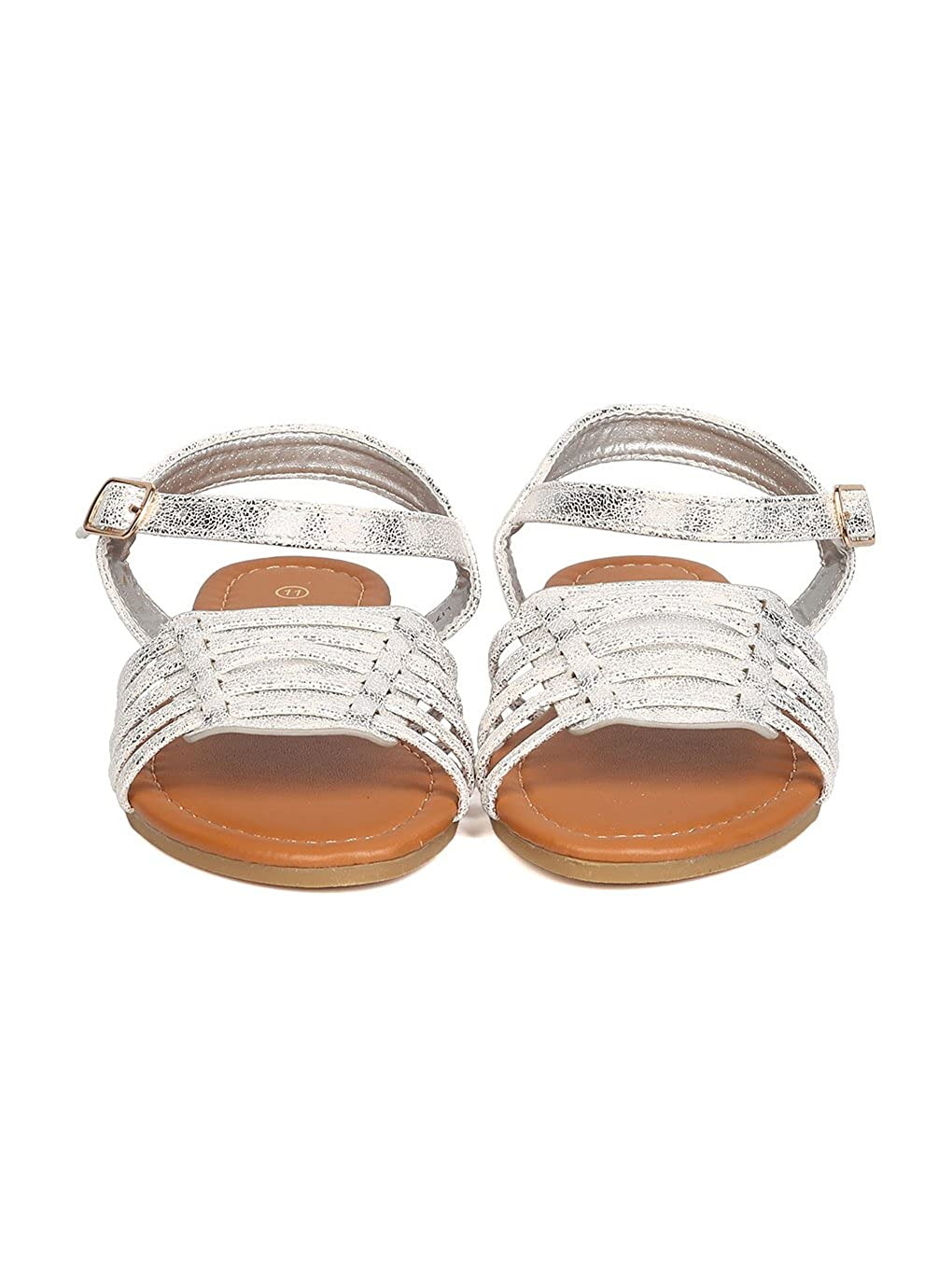 Girls Metallic Leatherette Open Toe Caged Ankle Strap Flat Sandal GC08