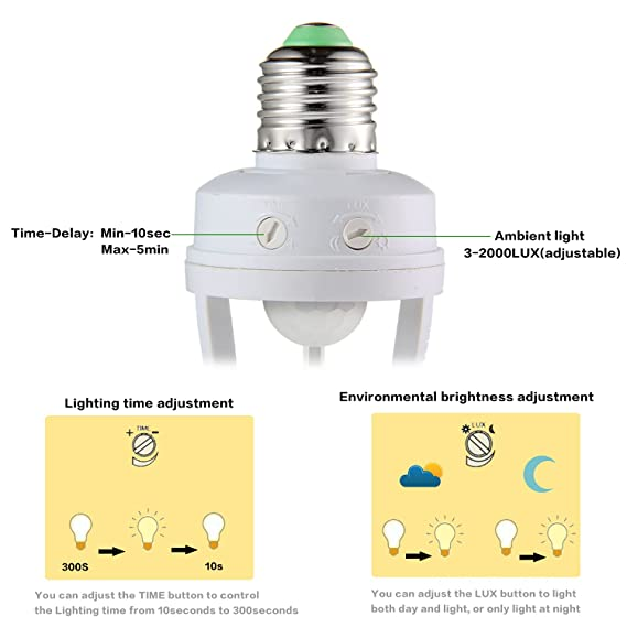 Infrared Motion Light Sensor Socket, Pawaca PIR Automatic Adjustable LED Lights Switches E27 Lamp Holder Screw Bulb Socket LD120 for Indoor Aisle Garage ...