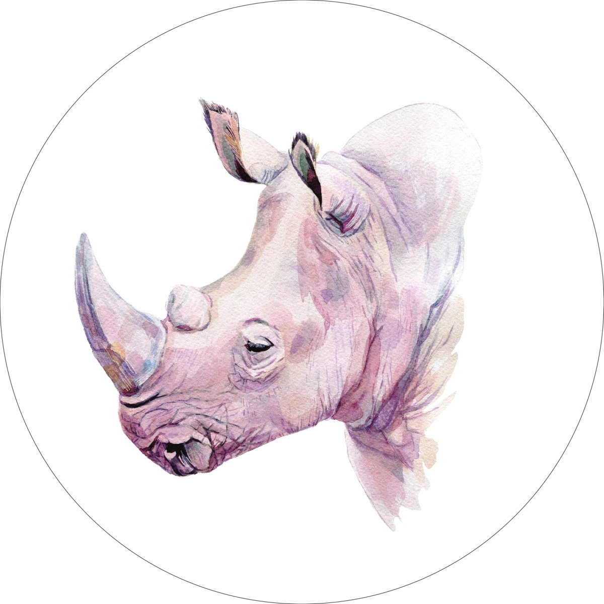 Rhino Rhinoceros Home Wall Shelf Decor Animal Decorations Watercolor Round Sign - 18 Inch, Plastic