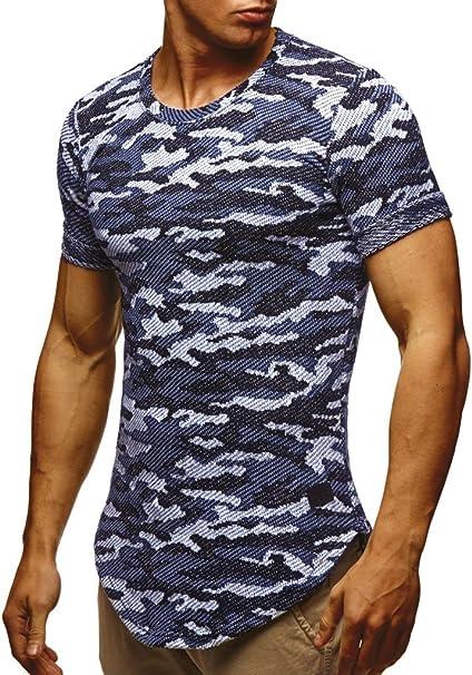 Leif Nelson Herren Sommer T Shirt Rundhals Ausschnitt Slim Fit Baumwolle Anteil Moderner Männer T Shirt Crew Neck Hoodie Sweatshirt Kurzarm lang
