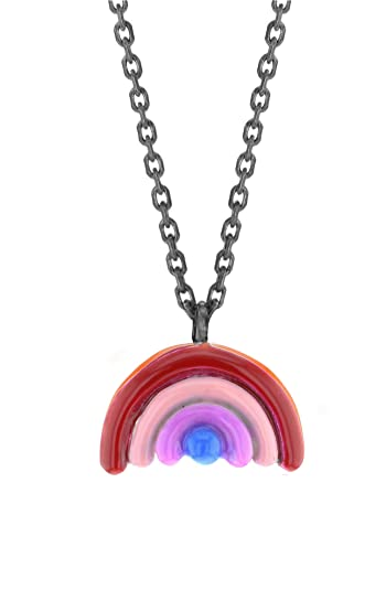 pendant multi in necklace sydney evan lyst enamel diamond rainbow metallic jewelry