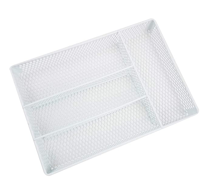 Amazon.com: HOMZ Metal Mesh, White, 4 Compartments, Fits Most Standard Size Kitchen Drawer Organizer: Home & Kitchen