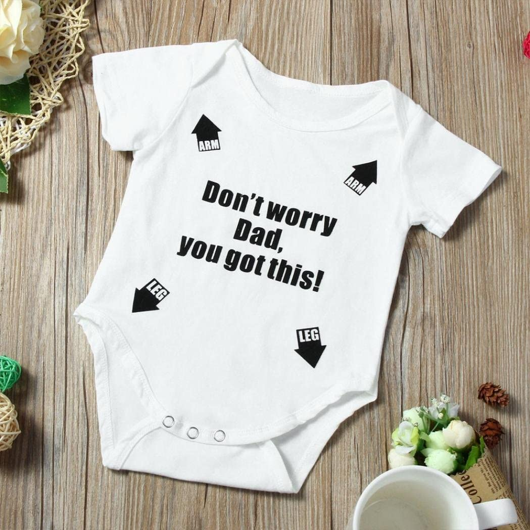 Transer/® Infant Boys Girls Rompers 0-18 Months Baby Jumpsuit Clothes Newborn Romper Kids Summer Letter Print Playsuits Toddlers Short Sleeve Outfits Baby Playsuit Outfits 12-18 Months, White