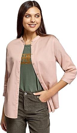 oodji Collection Mujer Camisa de Algodón con Cuello Mao: Amazon.es: Ropa y accesorios