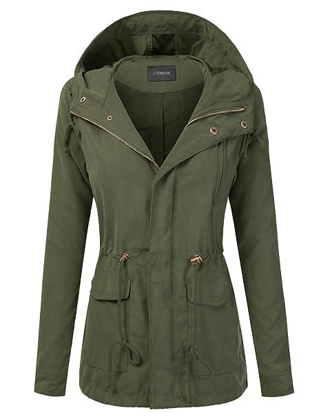 ef25eb3bab0 J. Tomson para mujer Trendy Militar algodón cordón Anorak chaqueta - Verde  -  Amazon