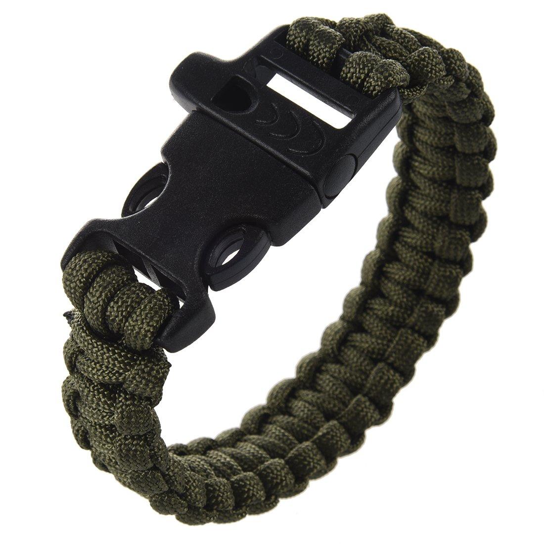 Verde Militare REFURBISHHOUSE 23 Centimetri Strap Braccialetto di Paracord Paracadute di Sopravvivenza Corda con Plastic Buckle