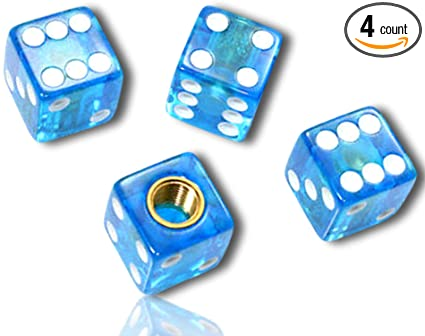 2 Count White} Custom Tire Wheel Rim Valve Stem Dust Cap Cover Seal w//Easy Grip Texture Made of Hardened Rubber w//Simple Classy Game Clear Translucent Casino Poker D6 Dice {Green Certificate