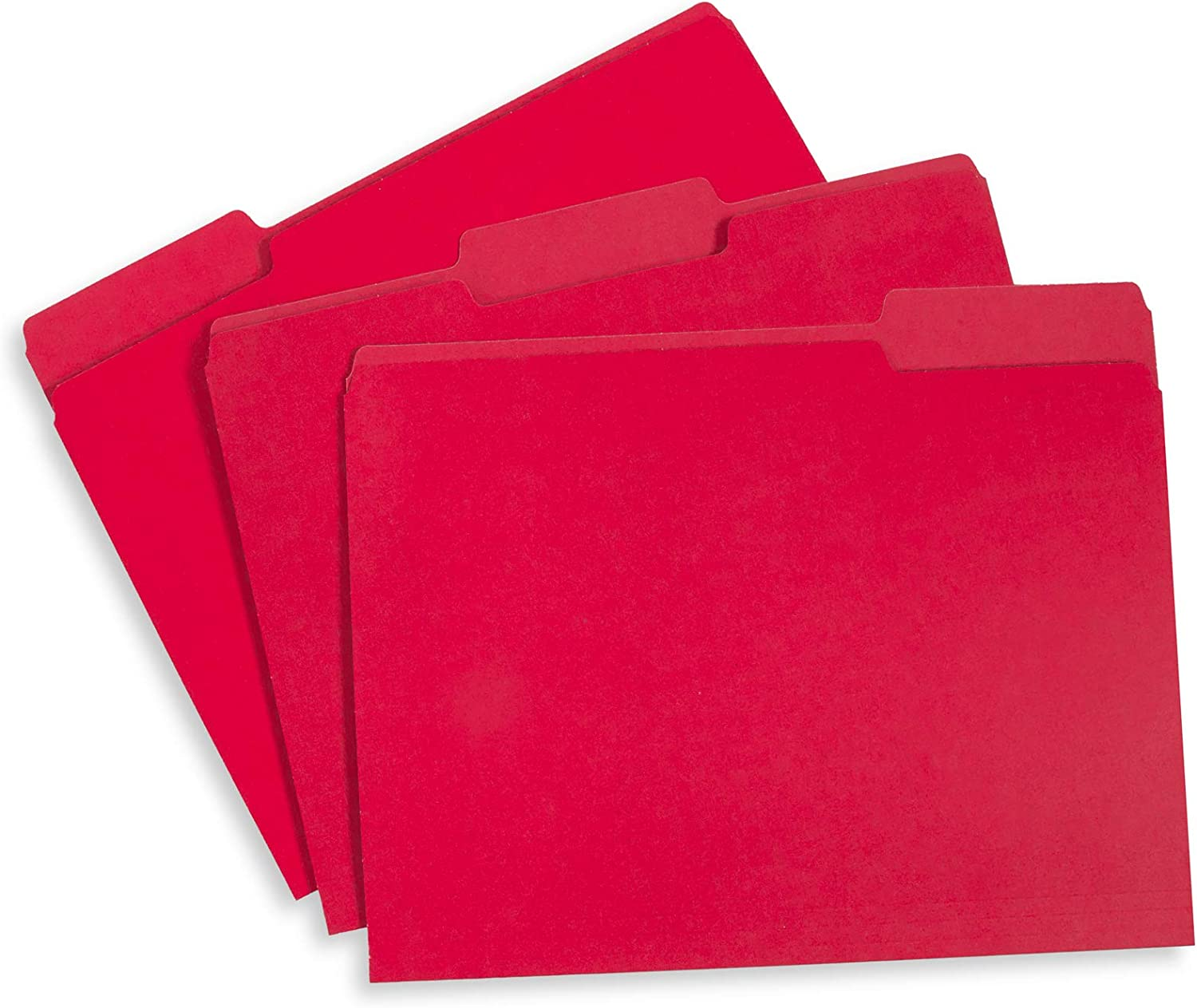 File Folder, 1/3 Cut Tab, Letter Size, Red, Great for Organizing and Easy File Storage, 100 Per Box