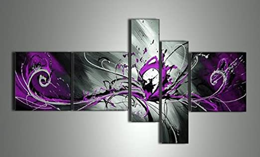 Amazon.com: OUTH Handpainted 5 Piece Black White Purple Modern