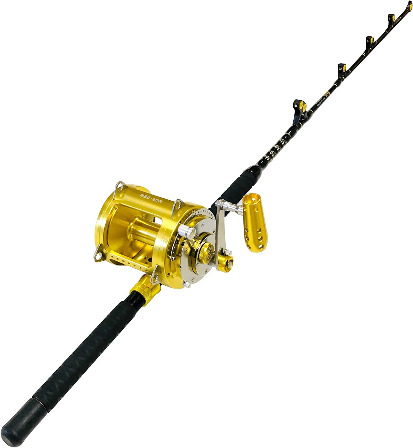 EatMyTackle 80 Wide 2 Speed Fishing Reel on a 100-120 lb. Blue Marlin Tournament Edition Rod