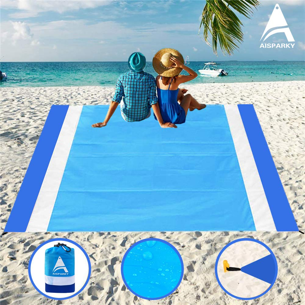 AISPARKY Beach Blanket Beach Mat Outdoor Picnic Blanket Large Sandproof Compact for